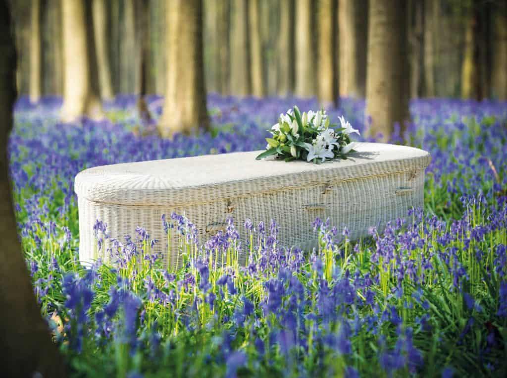 rattan coffin
